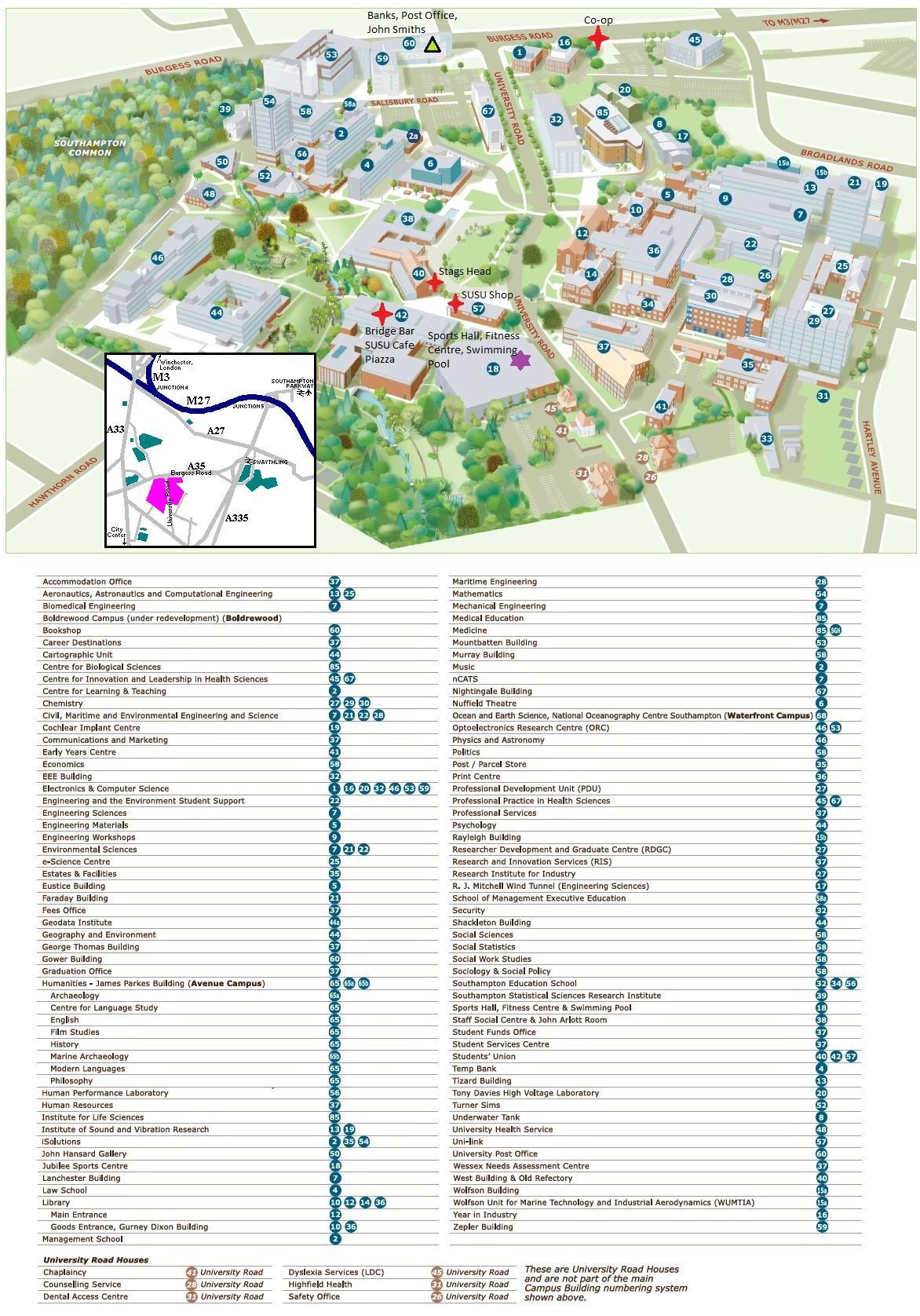 Southampton Campus Map Maps Southampton Campus Map